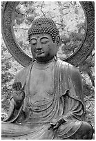 Buddha statue in Japanese Garden. San Francisco, California, USA ( black and white)