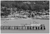 Pier, Pillar Point Harbor. Half Moon Bay, California, USA (black and white)