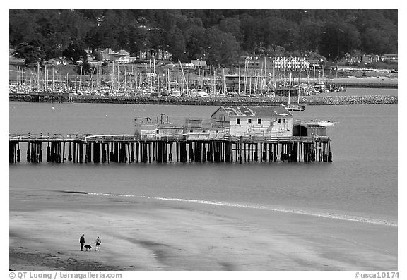 Couple on the beach and pier, Pillar Point Harbor. Half Moon Bay, California, USA (black and white)