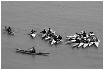 Sea Kayaking class, Pillar Point Harbor. Half Moon Bay, California, USA (black and white)