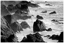 Pointed rocks and surf, Garapata State Park. Big Sur, California, USA (black and white)