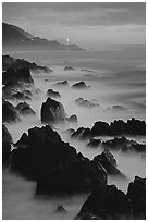 Rocks and surf at Blue hour, dusk, Garapata State Park. Big Sur, California, USA (black and white)