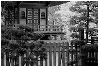 Pagoda in Japanese Garden. San Francisco, California, USA (black and white)