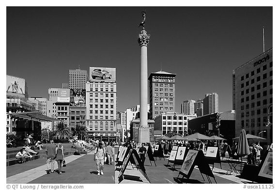 Art exhibition on Union Square, afternoon. San Francisco, California, USA (black and white)