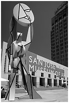 Sculpture and San Jose Museum of Art. San Jose, California, USA ( black and white)