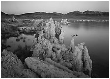 Tufas, South Tufa area,  dawn. Mono Lake, California, USA ( black and white)