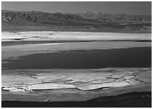 Owens Lake and desert ranges. California, USA ( black and white)