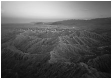Badlands at dusk, Font Point. Anza Borrego Desert State Park, California, USA ( black and white)