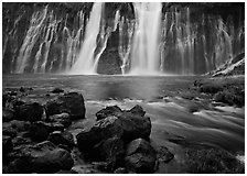 Wide waterfall over basalt, Burney Falls State Park. California, USA ( black and white)