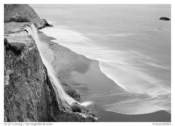 Alamere Falls, beach, and surf. Point Reyes National Seashore, California, USA (black and white)