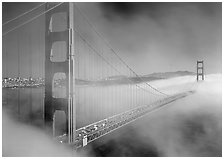 Golden Gate Bridge in Fog seen from Battery Spencer. San Francisco, California, USA (black and white)