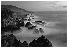 Rocky coastline, Garapata. Big Sur, California, USA ( black and white)