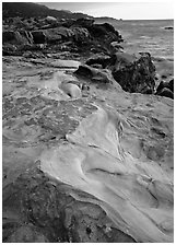 Sculptured coastline, Weston Beach. Point Lobos State Preserve, California, USA ( black and white)