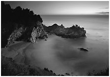 Mc Way Cove and waterfall at sunset. Big Sur, California, USA (black and white)