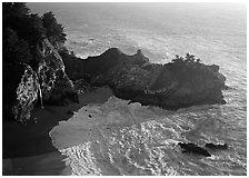Mc Way Cove and waterfall, late afternoon. Big Sur, California, USA ( black and white)