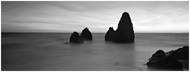 Ethereal seascape with seastacks. California, USA (Panoramic black and white)