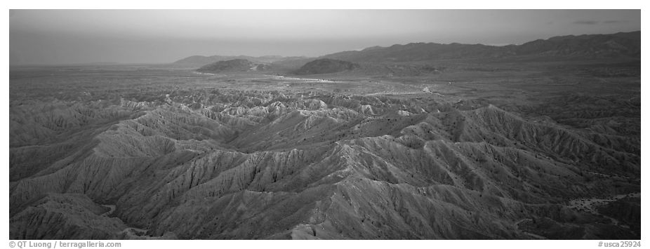Desert landscape with badlands. Anza Borrego Desert State Park, California, USA (black and white)