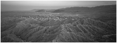 Desert landscape with badlands. Anza Borrego Desert State Park, California, USA (Panoramic black and white)