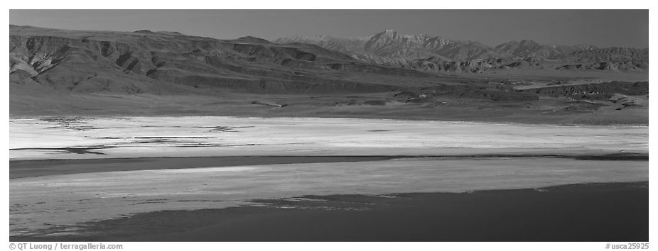 Desert landscape with Owens Lake and mountains. California, USA (black and white)