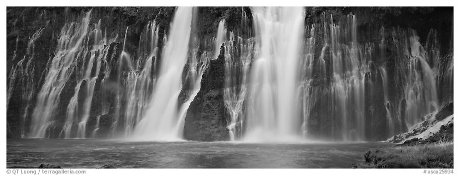 Wide waterfall, Burney Falls State Park. California, USA (black and white)