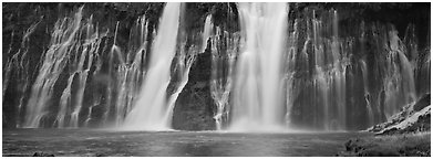 Wide waterfall, Burney Falls State Park. California, USA (Panoramic black and white)