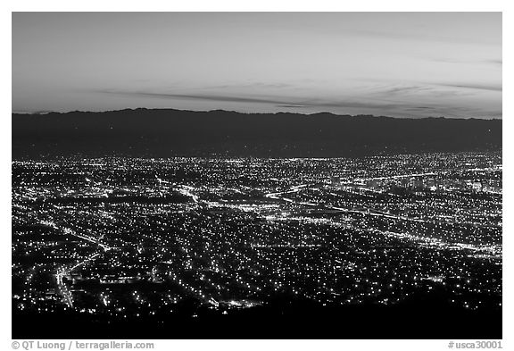 Lights of Silicon Valley at dusk. San Jose, California, USA (black and white)