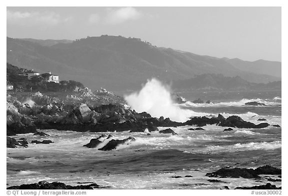 Coastline and Big wave, late afternoon, seventeen-mile drive. Pebble Beach, California, USA (black and white)