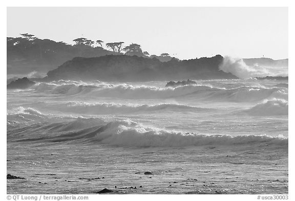 Waves, late afternoon, seventeen-mile drive. Pebble Beach, California, USA (black and white)