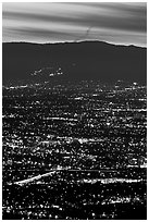 Lights of San Jose at dusk. San Jose, California, USA ( black and white)