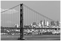 Golden Gate Bridge with city skyline, afternoon. San Francisco, California, USA (black and white)