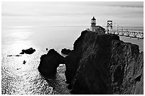 Point Bonita Lighthouse, afternoon. California, USA (black and white)