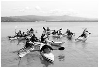 Sea kayak class, Pillar point harbor. Half Moon Bay, California, USA (black and white)