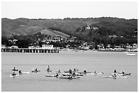 Sea kayakers, Pillar point harbor. Half Moon Bay, California, USA (black and white)