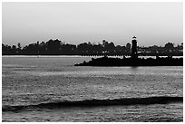 Lighthouse at sunset. Santa Cruz, California, USA ( black and white)