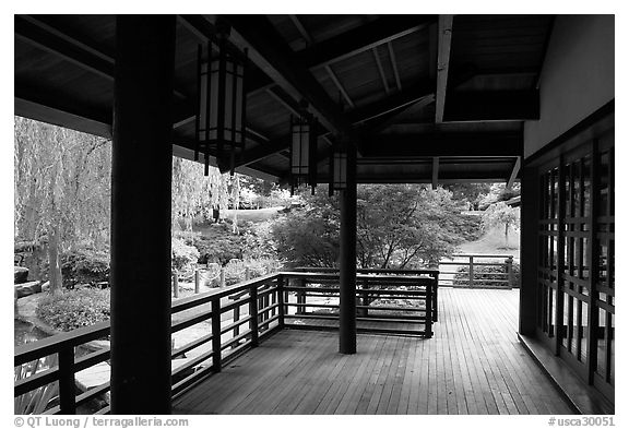 Pavilion in Japanese Friendship Garden. San Jose, California, USA (black and white)