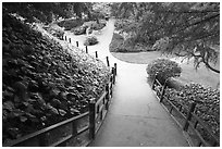 Alley in Japanese Friendship Garden. San Jose, California, USA ( black and white)
