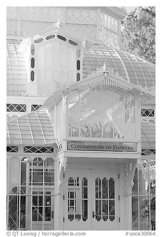 Conservatory of the Flowers, Golden Gate Park. San Francisco, California, USA (black and white)