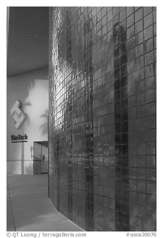 Tech Museum of Innovation entrance, late afternoon. San Jose, California, USA (black and white)