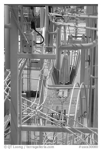 Close-up of Hi-tech art installation, The Tech Museum. San Jose, California, USA (black and white)