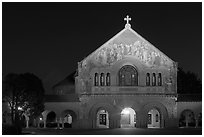 Memorial church at night. Stanford University, California, USA ( black and white)
