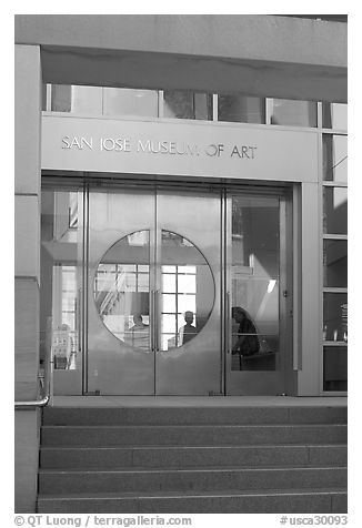 Entrance of the San Jose Museum of Art. San Jose, California, USA (black and white)
