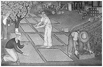 Harvest scene depicted in a fresco inside Coit Tower. San Francisco, California, USA ( black and white)