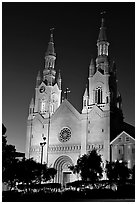 St Peter and Paul Church at night, Washington Square,. San Francisco, California, USA (black and white)