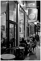 Cafe on Columbus Avenue at night, North Beach. San Francisco, California, USA (black and white)
