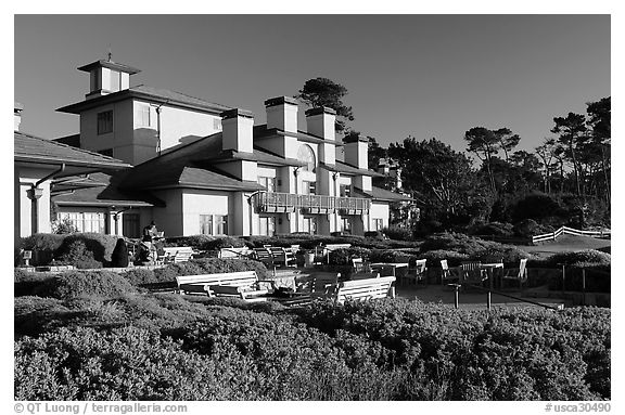 Spanish Bay Inn, Pebble Beach. Pebble Beach, California, USA (black and white)
