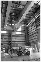 Equipment lifted in the hangar of the Stanford Linear Accelerator. Stanford University, California, USA (black and white)
