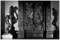 Rodin's monumental Gates of Hell at night. Stanford University, California, USA (black and white)
