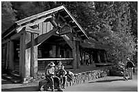 Park headquarters, afternoon. Big Basin Redwoods State Park,  California, USA (black and white)