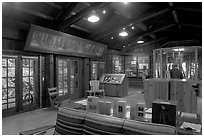 Inside the Sempervirens Visitor Center. Big Basin Redwoods State Park,  California, USA (black and white)