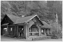 Visitor center, late afternoon. Big Basin Redwoods State Park,  California, USA (black and white)